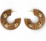 NB - J301 Cheetahs Wood Earrings
