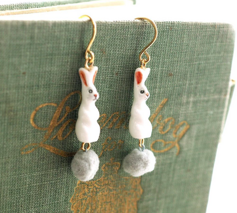NB - J250 Rabbit with Pompom Earrings