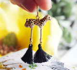 NB - J279 Cheetah With Legs Pompoms Earrings