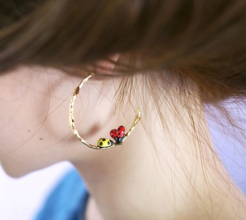 NB - J300 Yellow Ladybugs Branch Earrings