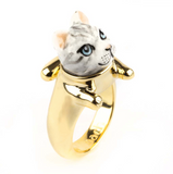 NB - BB86 Tabby Grey Cat With Legs Ring
