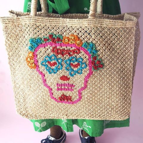 TJ - 035 Skull JUTE BAG/NAT