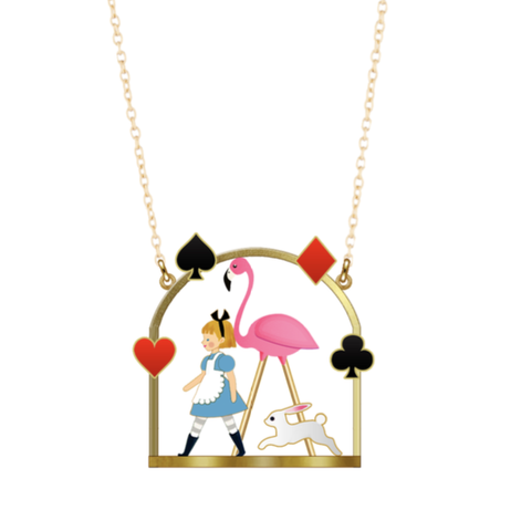 N2 - AMAL305 ALICE AND PINK FLAMINGO PENDANT NECKLACE