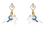 N2 - AMAL110 ALICE ON THE WHITE RABBIT CLIP-ON EARRINGS