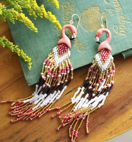 NB - J218 Flamingo with Pearls earrings