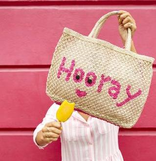 TJ - 039 Hooray- Jute Bag/Natural with Pink