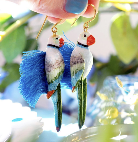NB - J348 Blue & Green Parrot with Fringes Earrings