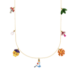 N2 - AMAL302 ALICE, FLOWERS, MUSHROOMS AND WHITE RABBIT THIN NECKLACE