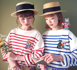 YK - YK210103 Stripe long sleeve tee with embroidery