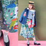 YK - YK210102 Skirt with Printed Pattern