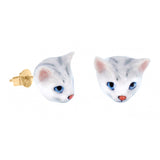 NB - J074 Mini Grey Cat Head Earring