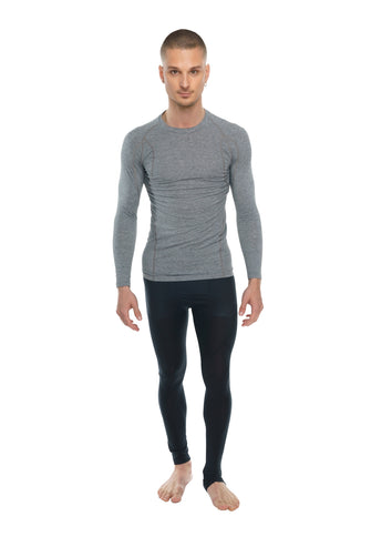 Designer Raglan Crew-Neck Tee - Long Sleeve (Steel Gray)