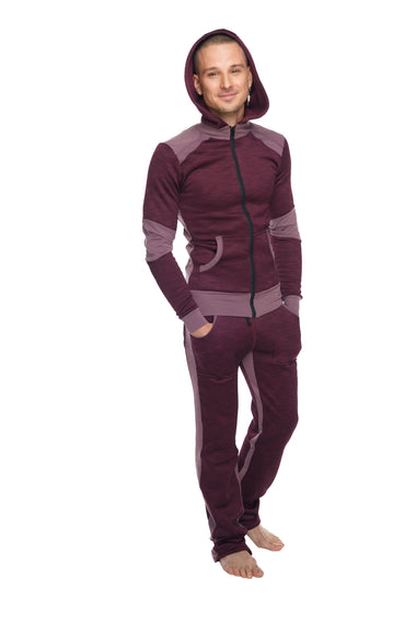 **Winter Collection** HEAVY-Weight LUXURY-Fleece Form-fit Crossover Yoga Track Performance Hoodie (Plum Purple)