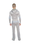 **Winter Collection** Mid-Weight LUXURY-Performance Fleece Form-fit Crossover Yoga Track Hoodie (Stainless Steel Grey)