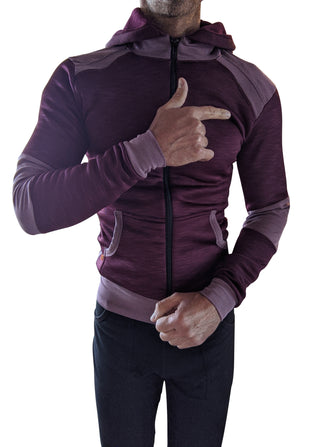**Winter Collection** Mid-Weight LUXURY-Fleece Crossover Hoodie (Plum Purple)