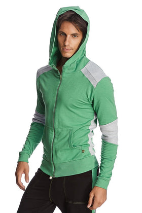 Crossover Hoodie (Bamboo Green & Grey) Mens Hoodies 4-rth