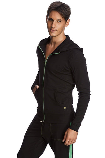 Crossover Hoodie (Black w/Green Zipper) Mens Hoodies 4-rth