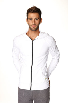 Crossover Hoodie (White w/Black Zipper) Mens Hoodies 4-rth