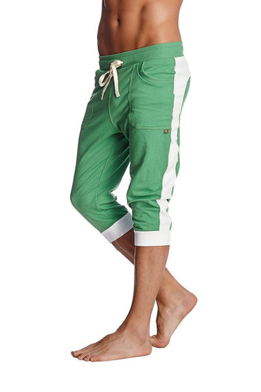 Cuffed Yoga Pants (Bamboo Green w/White) Cuffed Pants 4-rth