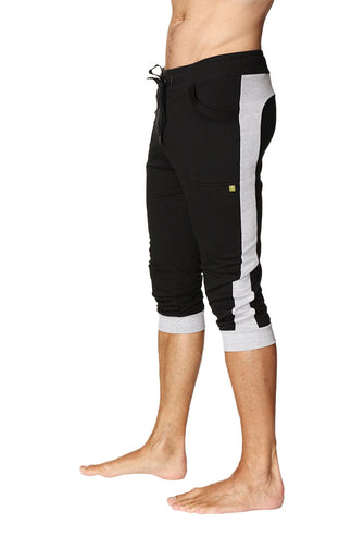 Cuffed Yoga Pants (Black w/Grey) Cuffed Pants 4-rth