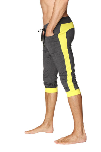 Cuffed Yoga Pants (Charcoal w/Yellow) Cuffed Pants 4-rth