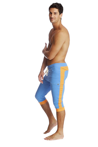 Cuffed Yoga Pants (ICE Blue w/Orange) Cuffed Pants 4-rth