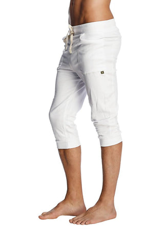 Cuffed Yoga Pants (Solid White) Cuffed Pants 4-rth