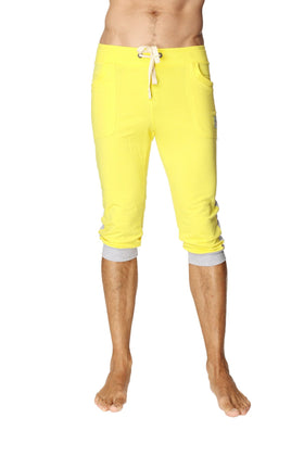 Cuffed Yoga Pants (Tropic Yellow w/Grey) Cuffed Pants 4-rth