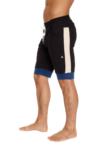 Cuffed Yoga Short (Black w/Sand & Royal) Mens Shorts 4-rth