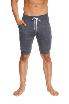 Cuffed Yoga Short (Charcoal) Mens Shorts 4-rth