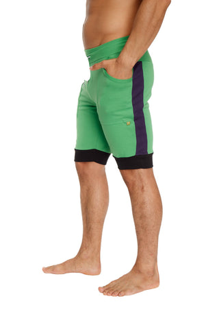 Cuffed Yoga Short (Green w/Purple & Black) Mens Shorts 4-rth