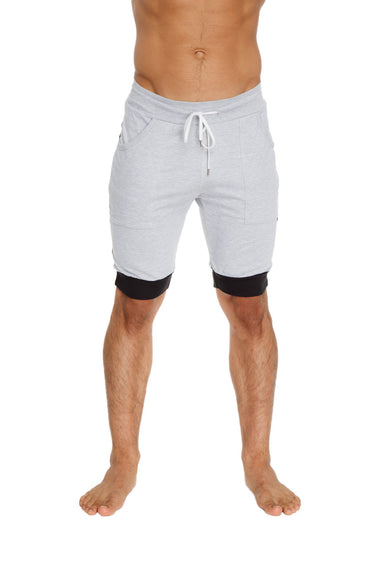 Cuffed Yoga Short (Grey w/Charcoal & Black) Mens Shorts 4-rth