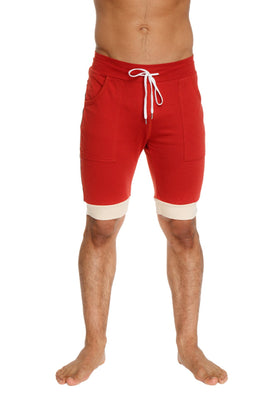 Cuffed Yoga Short (Red w/Charcoal & Sand) Mens Shorts 4-rth