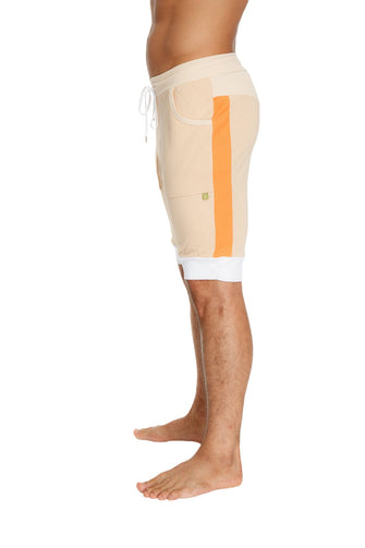 Cuffed Yoga Short (Sand w/Orange & White) Mens Shorts 4-rth