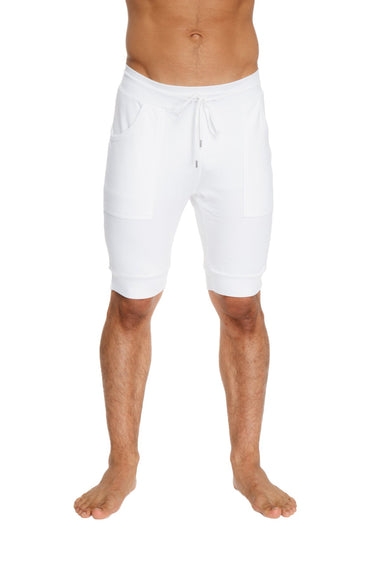 Cuffed Yoga Short (White) Mens Shorts 4-rth