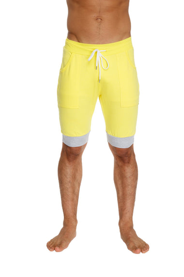 Cuffed Yoga Short (Yellow w/White & Grey) Mens Shorts 4-rth