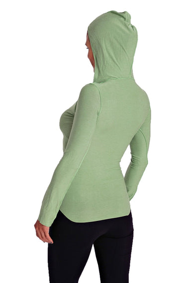 Deep Scoop Neck Long Sleeve Hoodie Top (Bamboo Green) Womens Hoodie Tops 4-rth