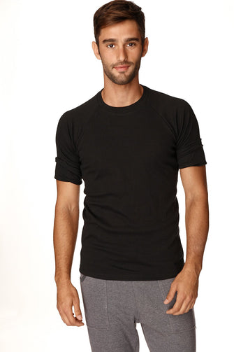Hybrid CREW Neck Raglan Tee (Black) Mens Tops 4-rth