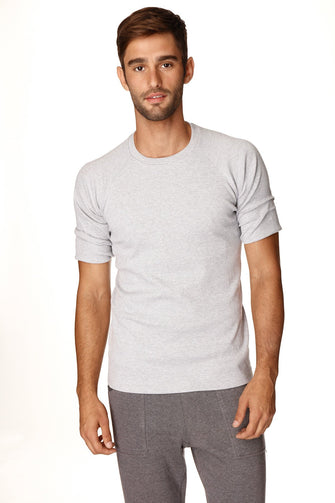 Hybrid CREW Neck Raglan Tee (Heather Grey) Mens Tops 4-rth