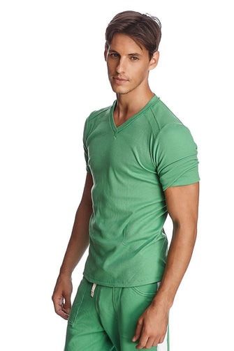 Hybrid V-Neck (Bamboo Green) Mens Tops 4-rth