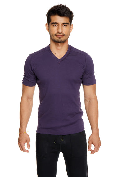 Hybrid V-Neck (Eggplant Purple) Mens Tops 4-rth