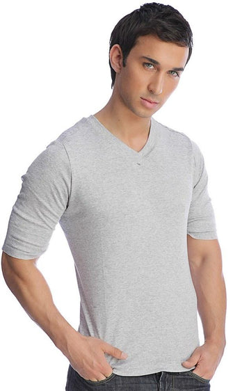Hybrid V-Neck (Heather Gray) Mens Tops 4-rth