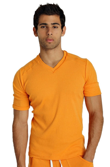 Hybrid V-Neck (Sun Orange) Mens Tops 4-rth