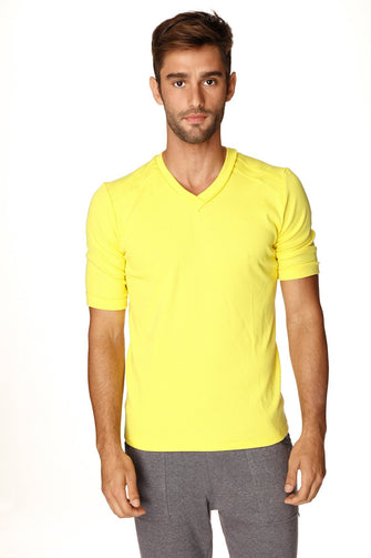 Hybrid V-Neck (Tropic Yellow) Mens Tops 4-rth