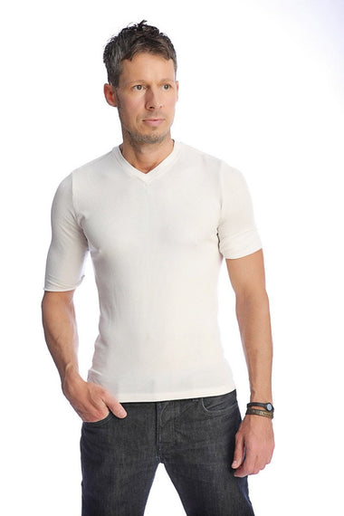 Hybrid V-Neck (White) Mens Tops 4-rth