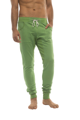 Long Cuffed Jogger Yoga Pants (Bamboo Green) Long Joggers 4-rth