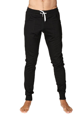 Long Cuffed Jogger Yoga Pants (Black) Long Joggers 4-rth