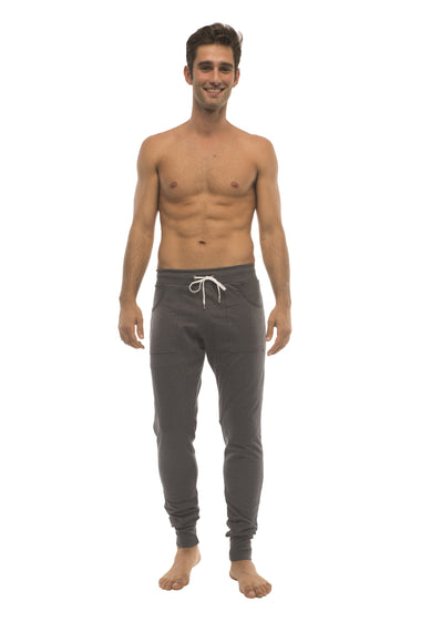 Long Cuffed Jogger Yoga Pants (Charcoal) Long Joggers 4-rth