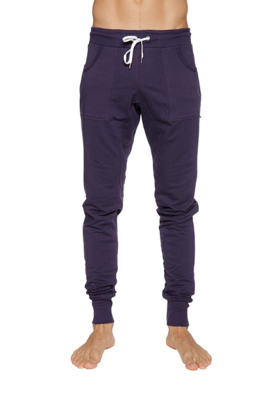 Long Cuffed Jogger Yoga Pants (Eggplant) Long Joggers 4-rth