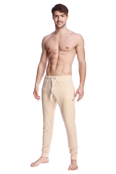 Long Cuffed Jogger Yoga Pants (Sand Beige) Long Joggers 4-rth